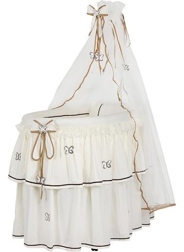 Baby Home Baby Home 606 Wood Tüllü Sallanır Bebek Sepeti Sepet Beşik Krem